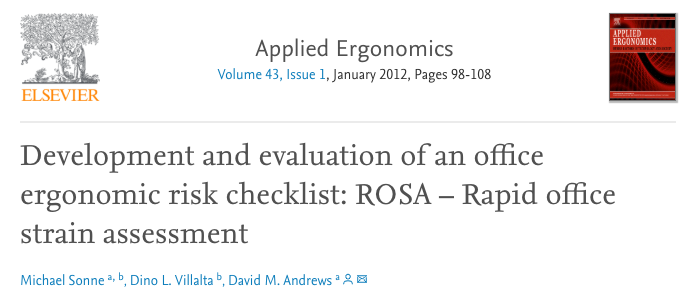 Development and evaluation of office ergonomic risk